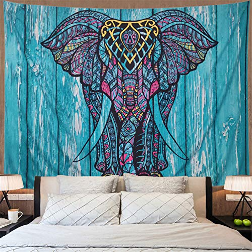Elephant Tapestry Vintage Blue Old Wooden Plank Tapestry Wall Hanging Bohemian Mandala Tapestry Psychedelic Wall Tapestry Watercolor Hippie Indian Tapestry Decor(Blue Elephant,59.1' × 78.7')