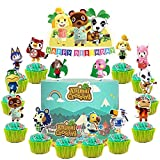 28 Toppers for Animal Crossing Cake Topper Cupcake Toppers, Cute Animal Happy Birthday Cake Toppers, Cake Decorations for Bday Theme Party