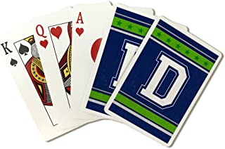 Monogram - Game Day - Blue and Green - D (Playing Card Deck - 52 Card Poker Size with Jokers)