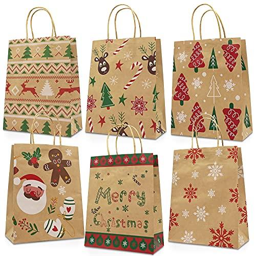 Bolsas de regalo de Navidad con asas, 24 bolsas de Navidad medianas para regalos, bolsas de Navidad de Kraft Reutilizables para regalos de fiesta de Navidad, estilos surtidos, 23 × 18,5 × 8,5 cm