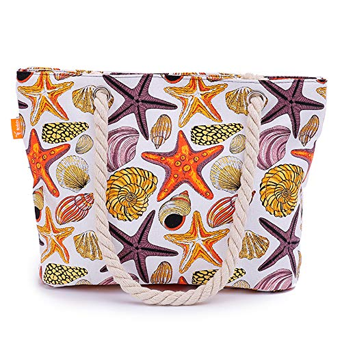 Large Tote Beach Bag Canvas shoulder bag with zipper closure (Starfish and shells)