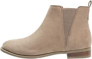 f362993f96a2af Anna Field Bottines Femme en Beige, Cognac Noir - Boots Chelsea Femme  Plates Couleur Unie