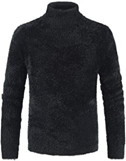 Mens Faux Mohair Fur Sweater Fluffy Jumper Pullover Turtleneck Puff Sleeve Warm Long Sleeve Pullover Jumper Sweater Super ...