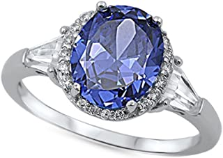Oval Design Simulated Tanzanite & Clear Cz .925 Sterling Silver Ring Sizes 4-11