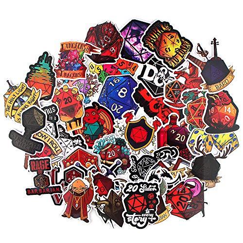 JUNZE Pegatina de Mazmorras y Dragones, Maleta, monopatín, refrigerador, portátil, Graffiti, Dibujos Animados, Pegatina Impermeable, 38 Uds.
