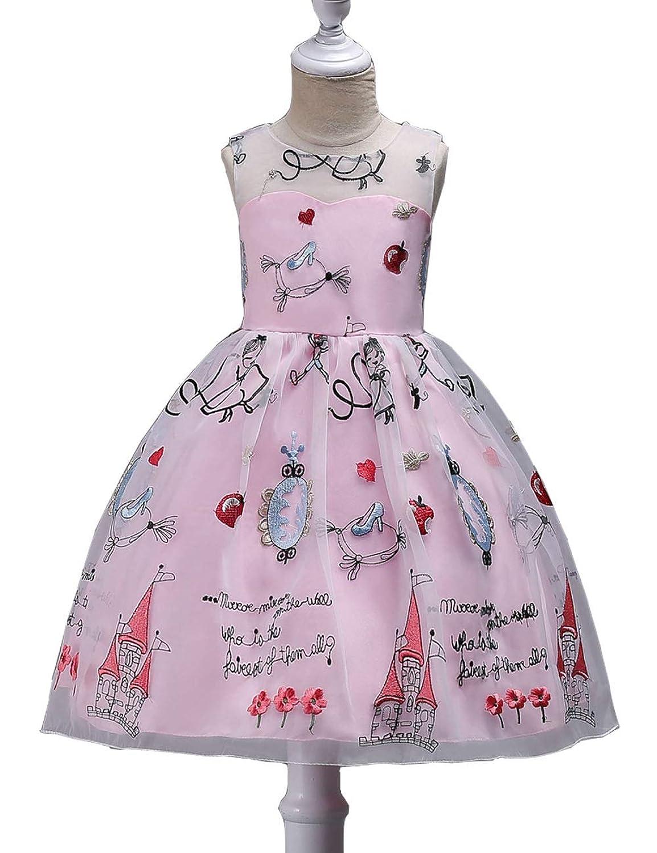KAWA KANA ガールズ ドレス 女の子 ドレス ワンピース 袖無し刺繍 レース フォーマルドレス シフォン 発表会 演奏会 結婚式 入園式 フォーマル 110cmー170cm