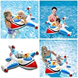 Baby Inflatable Swimming Rings, Airplane Yacht Baby Kids Toddler Infant Swimming Float Lluxury Seat Boat Pool Ring, Baby Spring Float Activity Center with Canopy, Suitable for 1 2 3 4 Year Old Baby