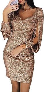 6a9b5df7a5 Meiyiu Women V-Neck Slim Sequined Tassel Long Sleeve Shining Bodycon Dress