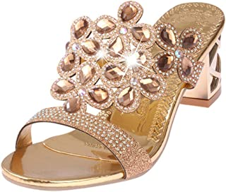 Rhinestone Slipper Sexy Hollow Out Chunky High Heels Sandals Women Slippers Summer Bohemia Casual Woman Crystal Shoes