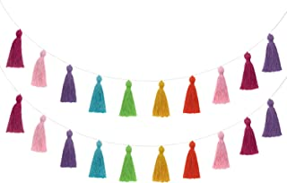 Mkono 2 Pack Cotton Tassel Garland Colored Tassels Banner Christmas Decorative Wall Hangings for Boho Home Decor,Xmas Tree Decorations Ornament, Party, Baby Shower,Nursey Dorm Room