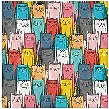Juego de 6 servilletas de tela, coloridas servilletas de cena de gatos de dibujos animados dibujados a mano, servilletas de poliéster lavables, suaves y reutilizables, para el hogar, Navidad, fies