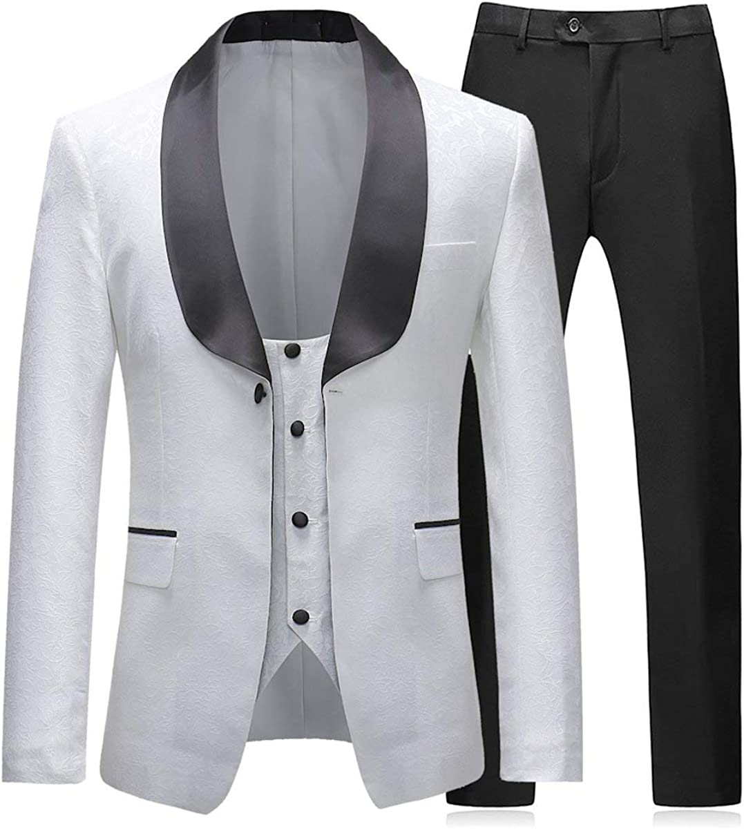 Frank Men's 3 Pieces Tuxedos Vintage Groomsmen Wedding Complete Outfits Prom Formal Tuxedo Suit