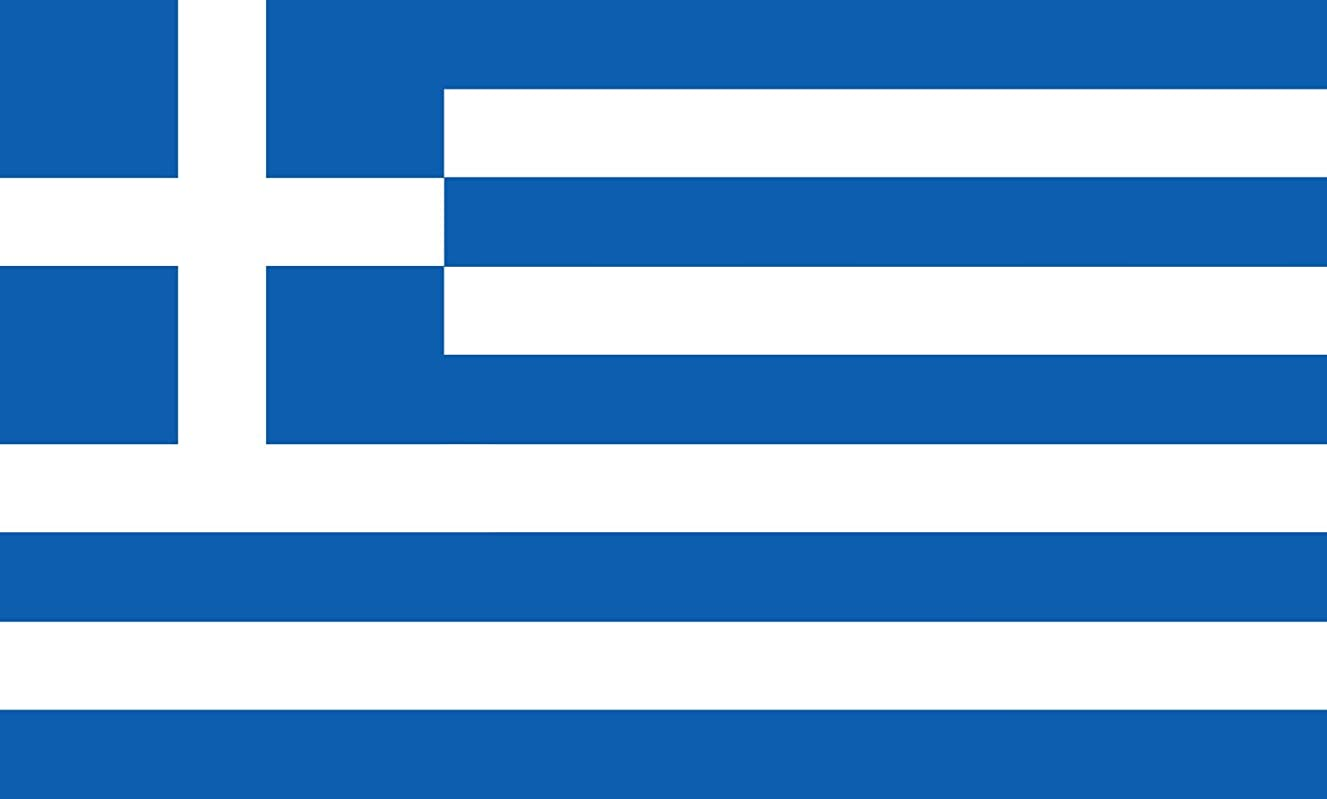 DIPLOMAT-FLAGS magFlags Indoor-Flag with Modern Chrome Flag Pole and Marble Base: Greece || Flag Pole Height: 230cm | 7.5 ft