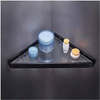 QingH yy Étagère d'angle Douche Tablettes Forage d'angle Salle de Bain étagère en Verre trempé Espace Aluminium Mural Shel...