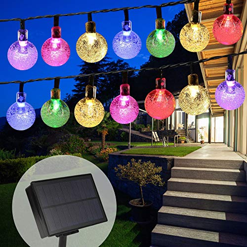 TTKTK Solar String Lights with Remote Control 60 LED 33ft Outdoor Waterproof Solar Powered Crystal Ball (1 inch) Decorative Lights for Garden, Patio, Yard, Home, Chrismas Tree, Parties (White)