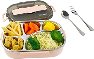 Acrodi Leak Proof Bento Lunch Box Premium Food Grade Stainless Steel Food Container, 5 Compartments with Insulated Lunch Bag and Portable Utensil Set (Pink)