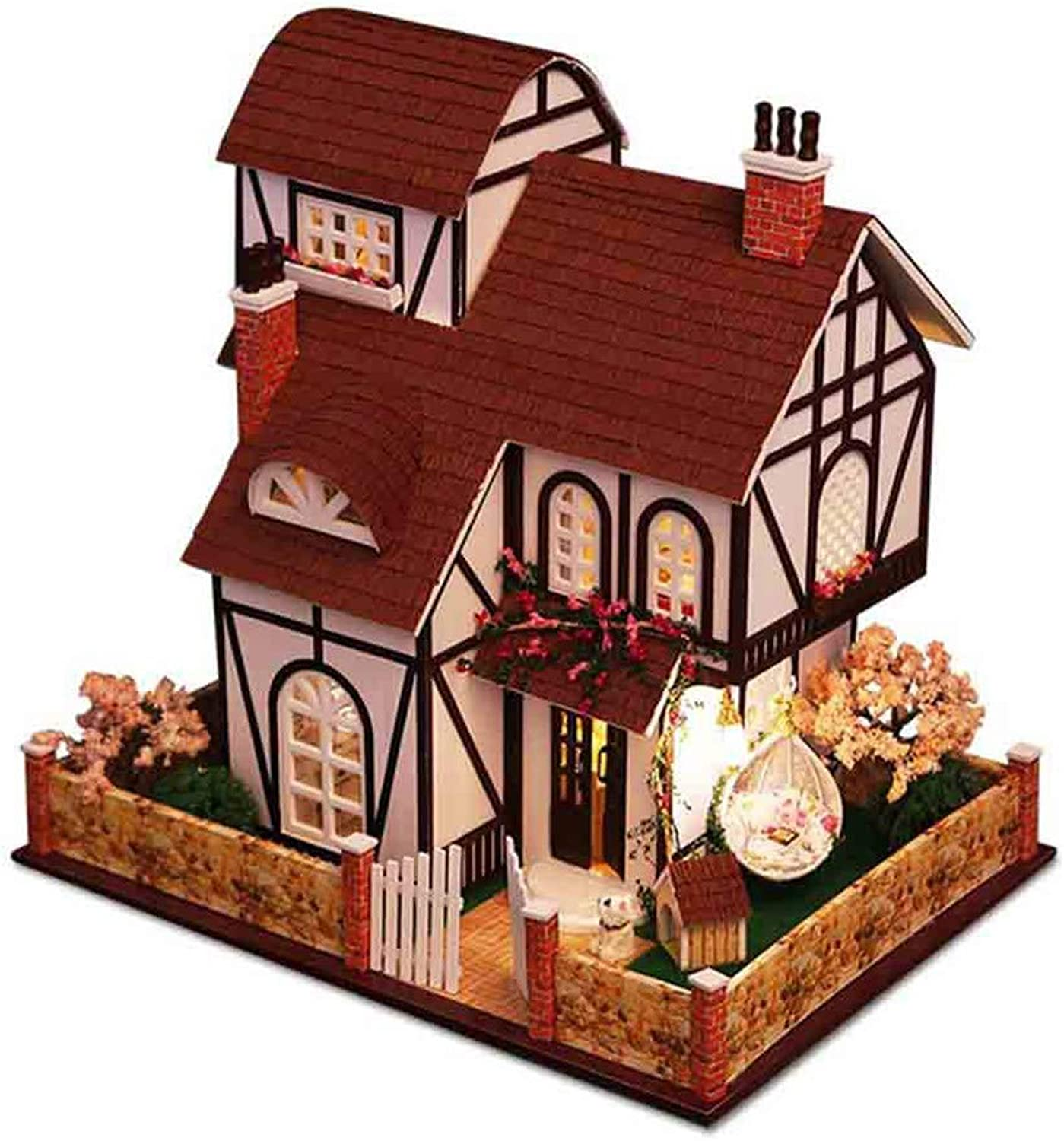 3D Puzzles Wooden Miniature Dollhouse DIY Kit,Flower Town Series model villa,Accessories Dolls Houses With Furniture,LED Light & Music Box,Best Gift for Women and Girls