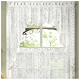 Hopewell Heavy White Lace Kitchen Curtain Choice of Tier Valance or Swag (swags)