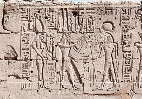 wandmotiv24 Fototapete Wand Hieroglyphen-schnitzereien XL 350 x 245 cm - 7 Teile Fototapeten, Wandbild, Motivtapeten, Vlies-Tapeten Ägypten M0817