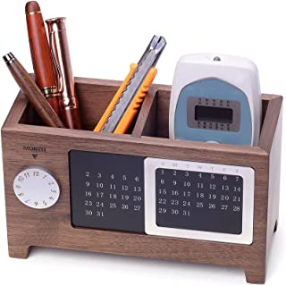 Artinova Wooden Pen Cup Office Supplies Desk Organizer Pen and Pencil Holder Stationery Storage Box with Calendar for The Desk ARTA-0006W