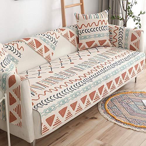 Funda de sofá de decoración bohemia para 2/3/4 plazas, fundas protectoras de sofá boho, funda de sofá de textura tejida de arte étnico -B_45 x 45 cm