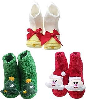 Kapmore 3 Pairs Baby Socks Plush Cute Cartoon Decor Floor Socks Winter Socks for Christmas