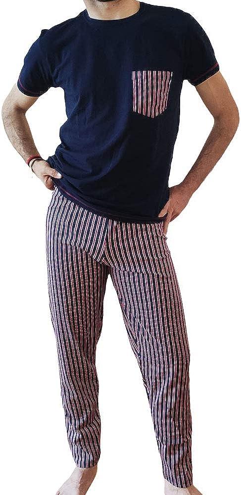 Armata di mare, pigiama per uomo primavera/estate 3 pezzi, pantaloni lunghi , pantaloncini e maglietta in coto