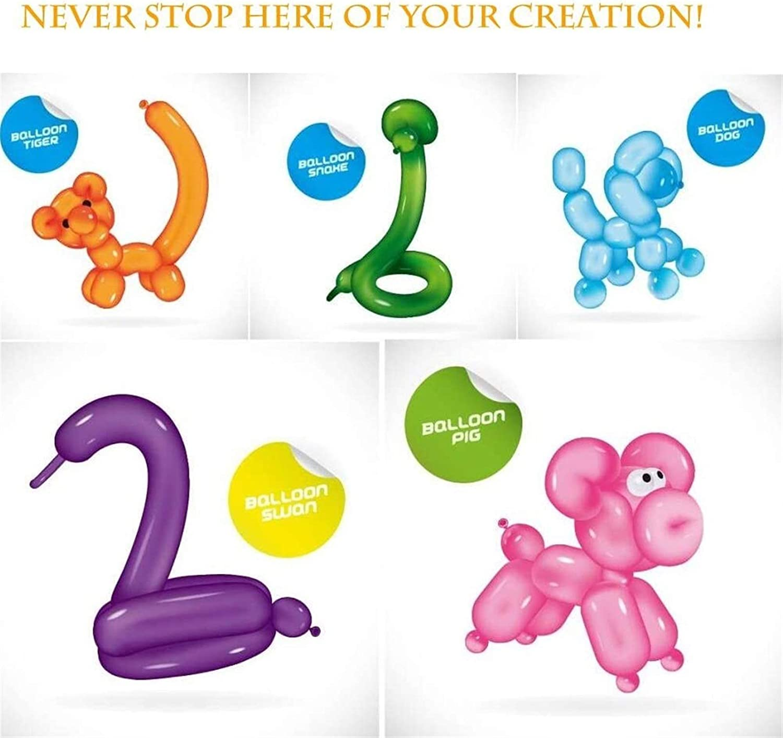 YUNLAN Lang Ballonnen for Balloon Animals Twisting ballonnen - 100 stuks Dier van de Ballon Kit 260q Birthday Party Balloons Magic Ballonnen for decoraties ballon (Color : A) A