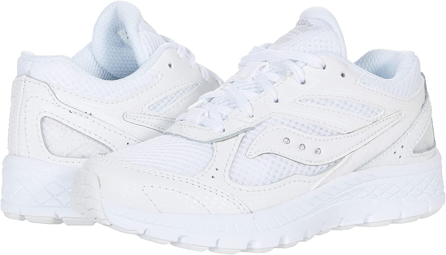 Saucony Cohesion 14 LACE to Toe Running Shoe, White, 2.5 Wide US Unisex Big_Kid