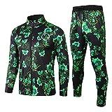 WXHMKGG Herren Green Floral Football Club Verein Team Uniform Langarm Jacke Trainingsanzug Wettkampfanzug M