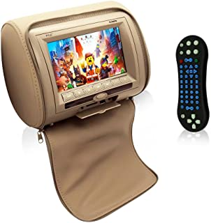 Pyle  HD Quality Car Headrest DVD Player Monitor Display 7 inch Widescreen, Remote Control , USB / SD Reader, FM IR Transmitter for Car Mini Van Travel Entertainment PL74DTN (TAN)