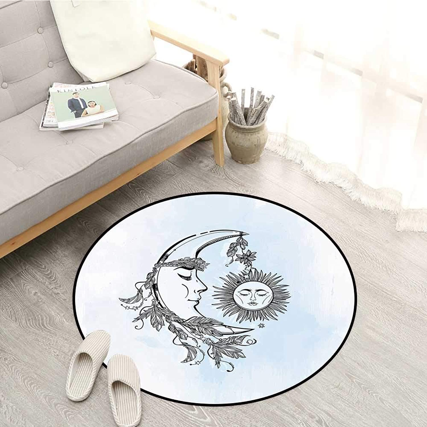 Sun Living Room Round Rugs Hand Drawn Monochrome Moon with Feather Crown Leaves and Sticks Spiritual Sofa Coffee Table Mat 4'11  Pale bluee Black White