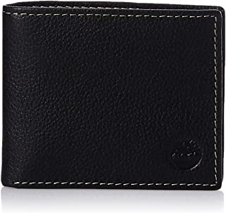 Timberland Men's Leather Wallet with Attached Flip Pocket, Black (Sportz), One Size