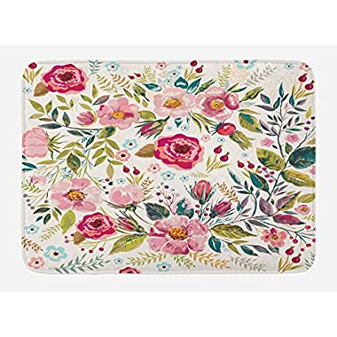 Lunarable Floral Bath Mat, Shabby Chic Flowers Roses Petals Dots Leaves Buds Spring Season Theme Image Artwork, Plush Bathroom Decor Mat with Non Slip Backing, 29.5 W X 17.5 W Inches, Multicolor
