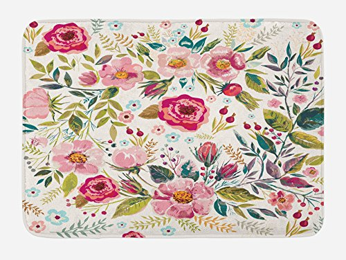 Lunarable Floral Bath Mat by, Shabby Chic Flowers Roses Petals Dots Leaves Buds Spring Season Theme Image Artwork, Plush Bathroom Decor Mat with Non Slip Backing, 29.5 W X 17.5 W Inches, Multicolor