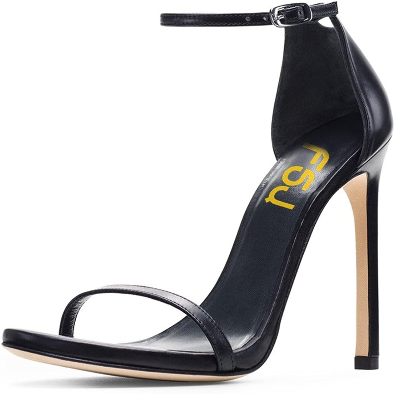 FSJ Women Formal Ankle Strap Sandals Open Toe High Heels shoes for Office Ladies Size 4-15 US
