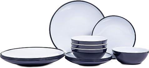 طقم أواني طعام ميلامين - 12 قطعة من أدوات الطعام للاستخدام الداخلي والخارجي، مجموعة أطباق ذات تصميم بلونين لأربعة أشخاص، آ...