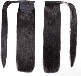 Uya hair Human Hair Wrap Around Ponytail for Women 100 gram Clip In Human Brazilian Hair Extensions human hair ponytail extension Remy Human Ponytails (14 inch,Natural Black #1B)