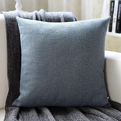MRBJC Almohadas estilo nórdico lino espesar cojín decorativo cuadrado almohada con almohada para sofá sala sofá cama azul 30x50cm
