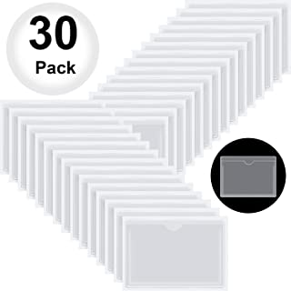 30 Pack Self-Adhesive Business Card Pockets with Top Open for Loading - Card Holder for Organizing and Protecting Your Cards or Photos - Crystal Clear Plastic, 4.33 x 6.3 Inches
