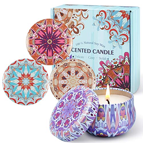 SCENTORINI Duftkerze Sojawachs Aroma Kerzen in Dose 4er Duftkerzen Geschenkset, Duft von Apfel Zimt, Leinen, Rose & Sandelholz, Lavendel & Vanille, 60Std
