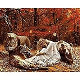 Pintura por números,Selva niña animal león oso Decoración del hogar del artista de la pintura al óleo de la lona preimpresa de bricolaje Inicio 40x50cm (Rainbow Pony).