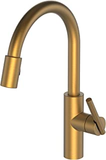 Newport Brass 1500-5103/10 Satin Bronze (PVD) East Linear Kitchen Faucet with Metal Lever Handle and Pull-down Spray