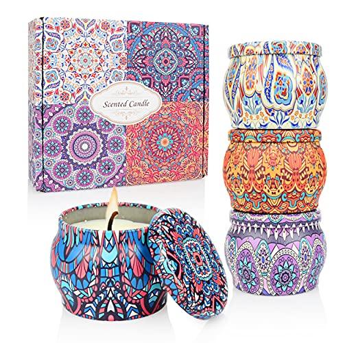 Velas Perfumadas para Mujer, MMTX 4.0 OZ Vela Aromática de Cera de Soja Natural, 4 Tipos de Aromas Caja de Regalo,Vainilla,Lavanda, Limón, Romero.