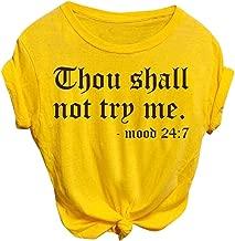 Adeliber Women's Fashion Short Sleeve T-Shirt Casual O-Neck Letter Print T-Shirt Top Shirt