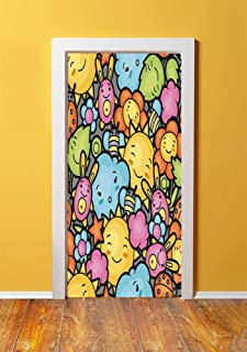 Nursery 3D Door Sticker Wall Decals Mural Wallpaper,Cute Cartoon Characters Happy Sun Bunnies Trees Bugs Clouds Bees Kawai Art Design Decorative,DIY Art Home Decor Poster Decoration 30.3x78.5636,Multi
