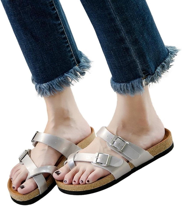 Lady Sandals mode Ladies Cross Toe Strap Flat Sandals strand strand strand skor Thick Solstice Cork Slippers Elegant Cosy Wild Spänt Super Quality for kvinnor  Beställ nu njut av stor rabatt