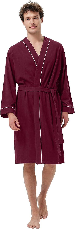 SIORO Men's Animer and price revision Cotton Robe Lightweight Soft Bat Kimono Minneapolis Mall Knee Length