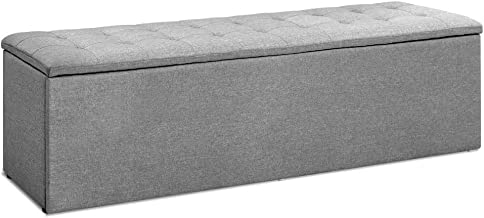 Artiss Storage Ottoman Bench Fabric Footstool Grey