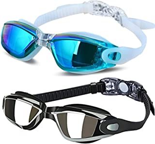 ALLPAIPAI Swim Goggles - Swimming Goggles,Pack of 2 Professional Anti Fog No Leaking UV Protection Wide View Swim Goggles for Women Men Adult Youth Kids